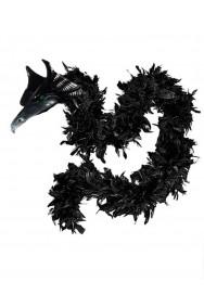 Boa di piume nero con testa di drago