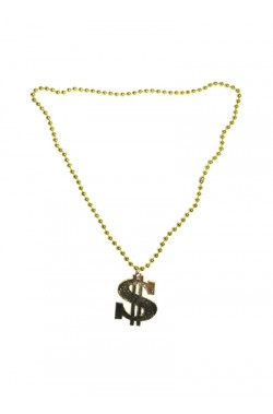 Collana con medaglione dollaro color oro in plastica