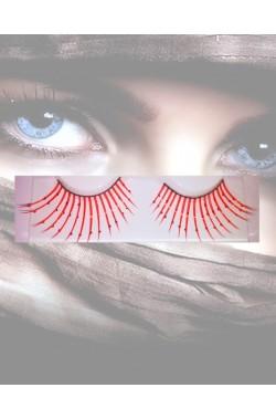 Ciglia finte rosse con cristalli trasparenti