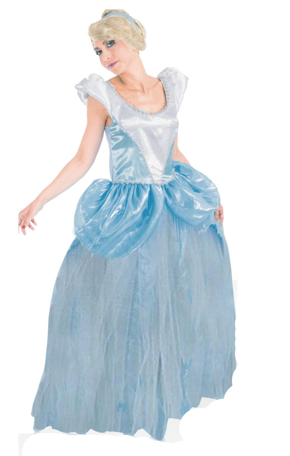848e646abfbb Vestito di carnevale adulta Principessa azzurra Cinderella lungo