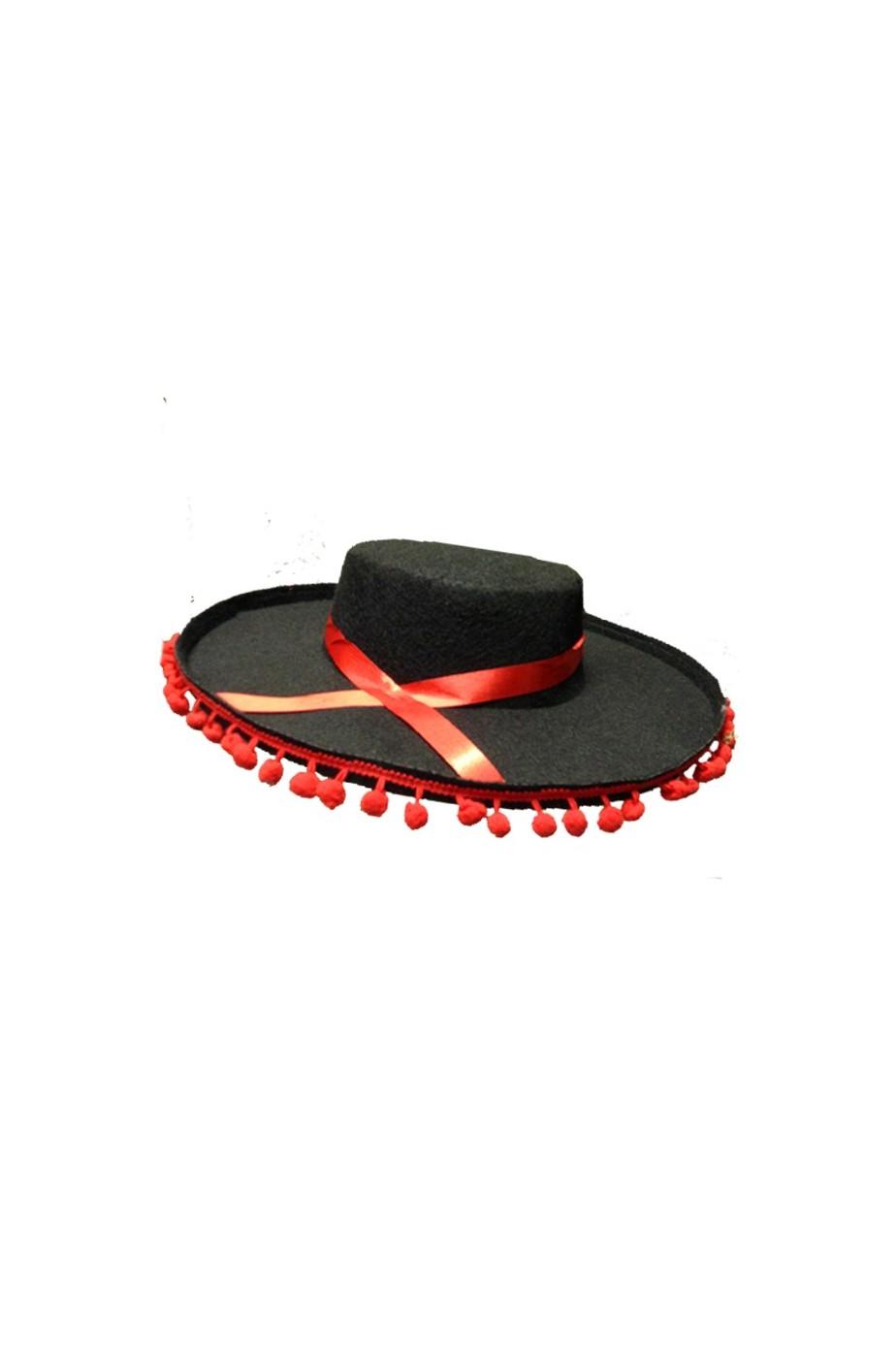 Cappello spagnolo flamenco con palline rosse 9e1e4b84a0b1