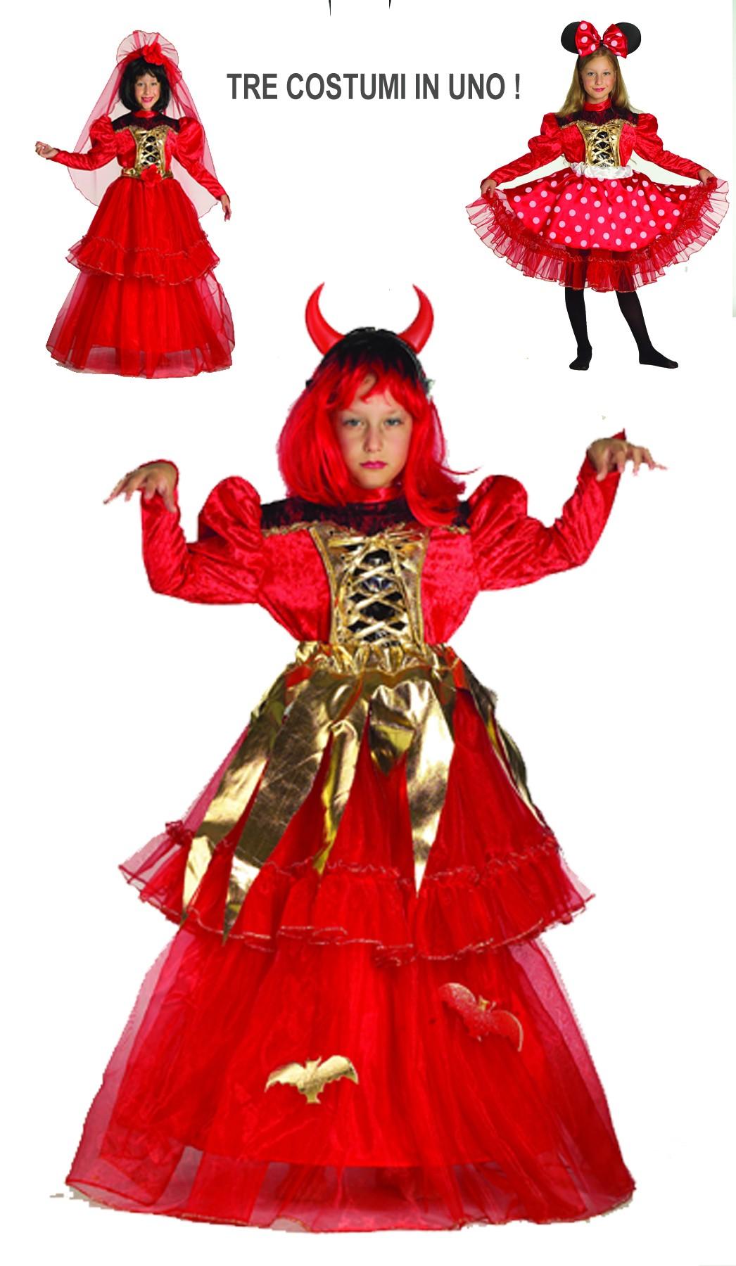 7ef1e53d860a Costume carnevale Bambina Minnie 3 Costumi In Uno Minnie Spagnola Diavola
