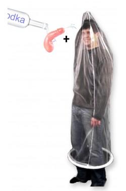 Kit Costume uomo preservativo in trama e pistola a fallo