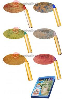 Trucco Scatola trucchi 6 matite brillantini rosso verde blu oro argento viola
