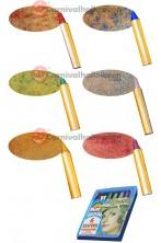 Scatola trucchi 6 matite glitter rosso verde blu giallo rosa argento