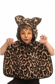 Mantellina pelouche con cappuccio Leopardo. Adatta anche per adulti piccoli
