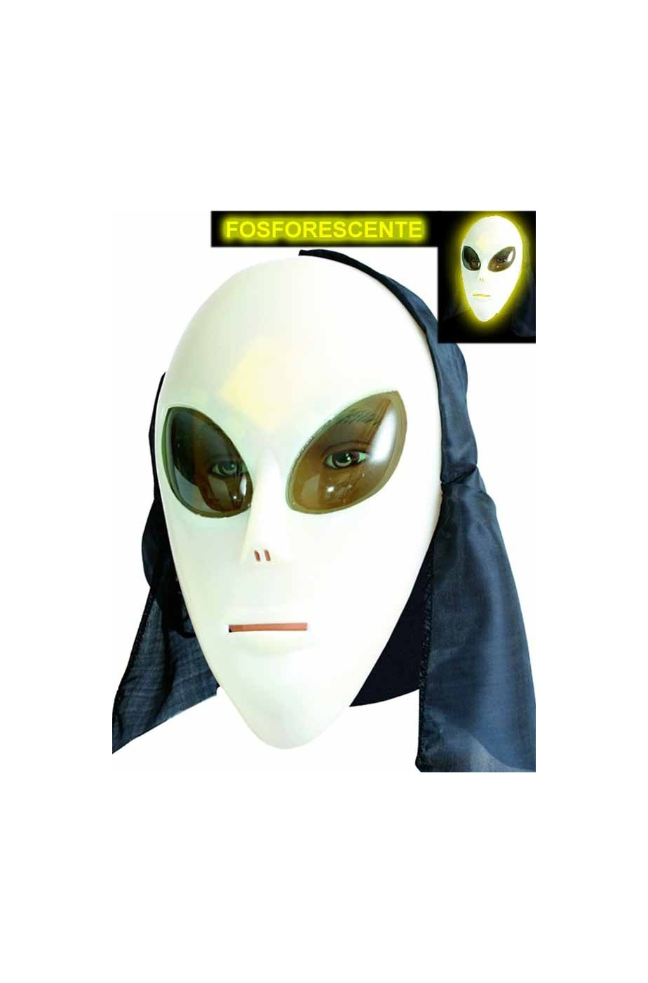 MASCHERA Alieno UFO L/'EXTRATERRESTRE FANCY DRESS ROSWELL Brilla nel buio Halloween