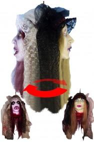 Decorazione Halloween da appendere testa doppia sposa cadavere e vampira