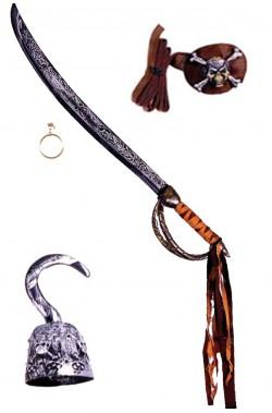 Kit Sciabola pirata 46 cm uncino benda e orecchino