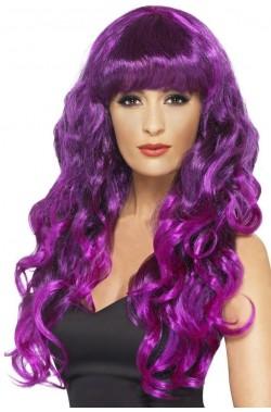 Parrucca donna lunga viola mossa