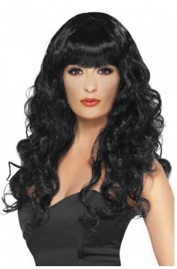 Parrucca donna lunga nera liscia
