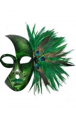 Maschera stile carnevale veneziano verde mezzo viso lucida