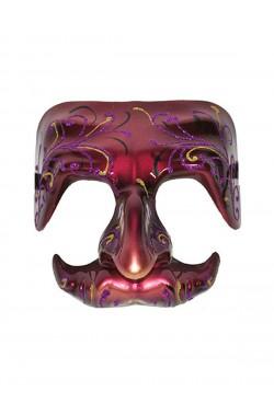 Maschera stile carnevale veneziano in plastica rosa scuro mezzo viso lucida