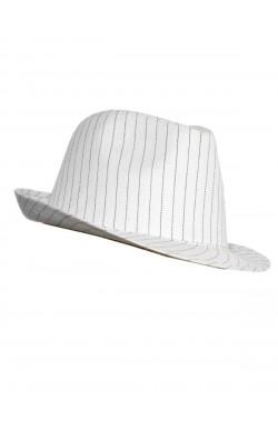 Cappello gangster anni 20 in stoffa gessato bianco