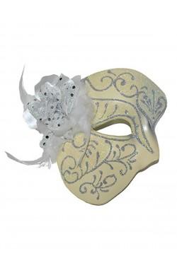 Maschera stile carnevale veneziano mezzo viso in plastica con fiore e piume