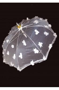 Ombrello parasole in garza con fiori bianco