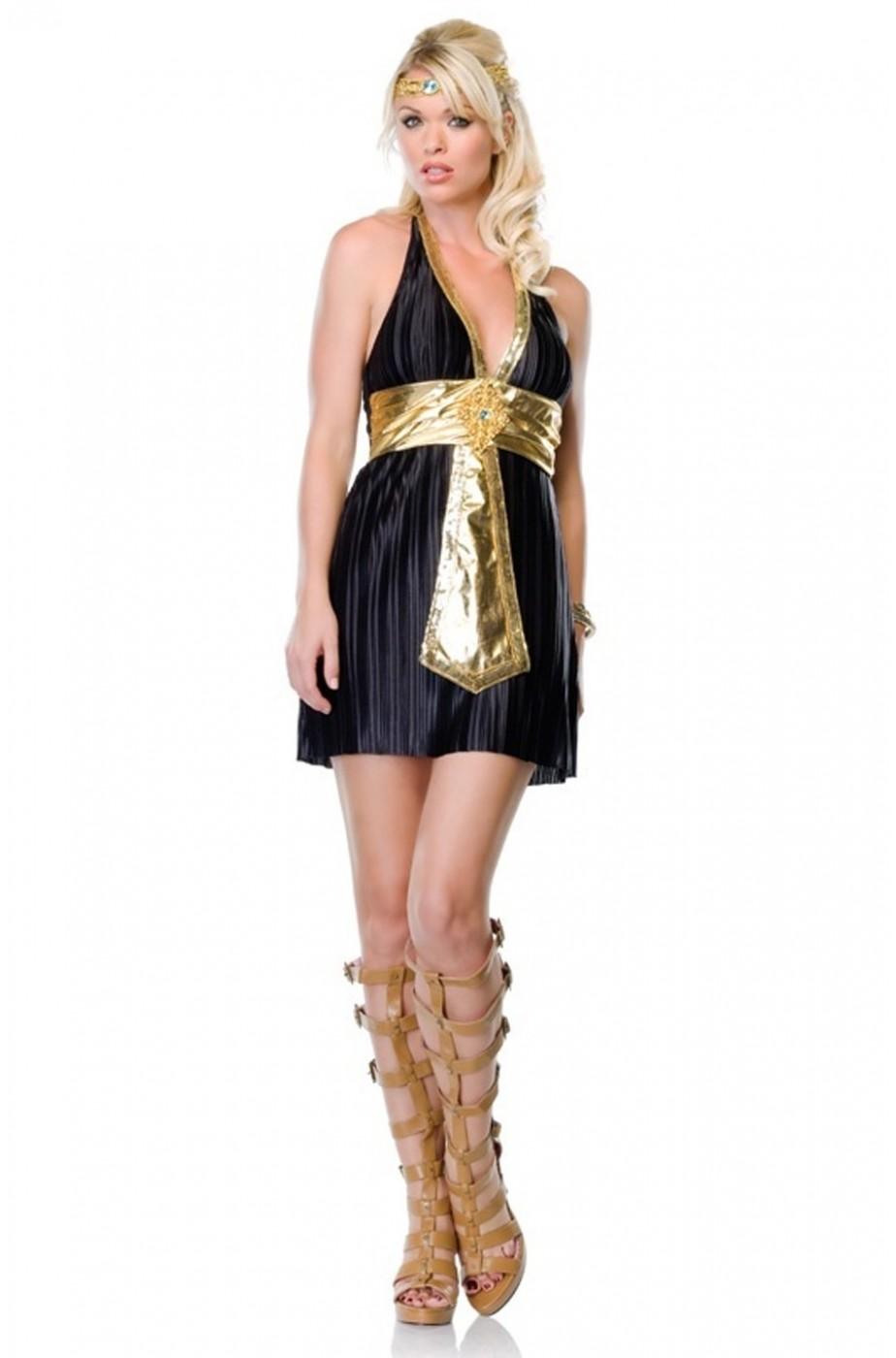 Vestito di carnevale o Halloween corto nero da donna egiziana o romana 58bd33e1d55