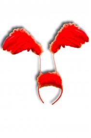 Ali rosse in piume a cerchietto
