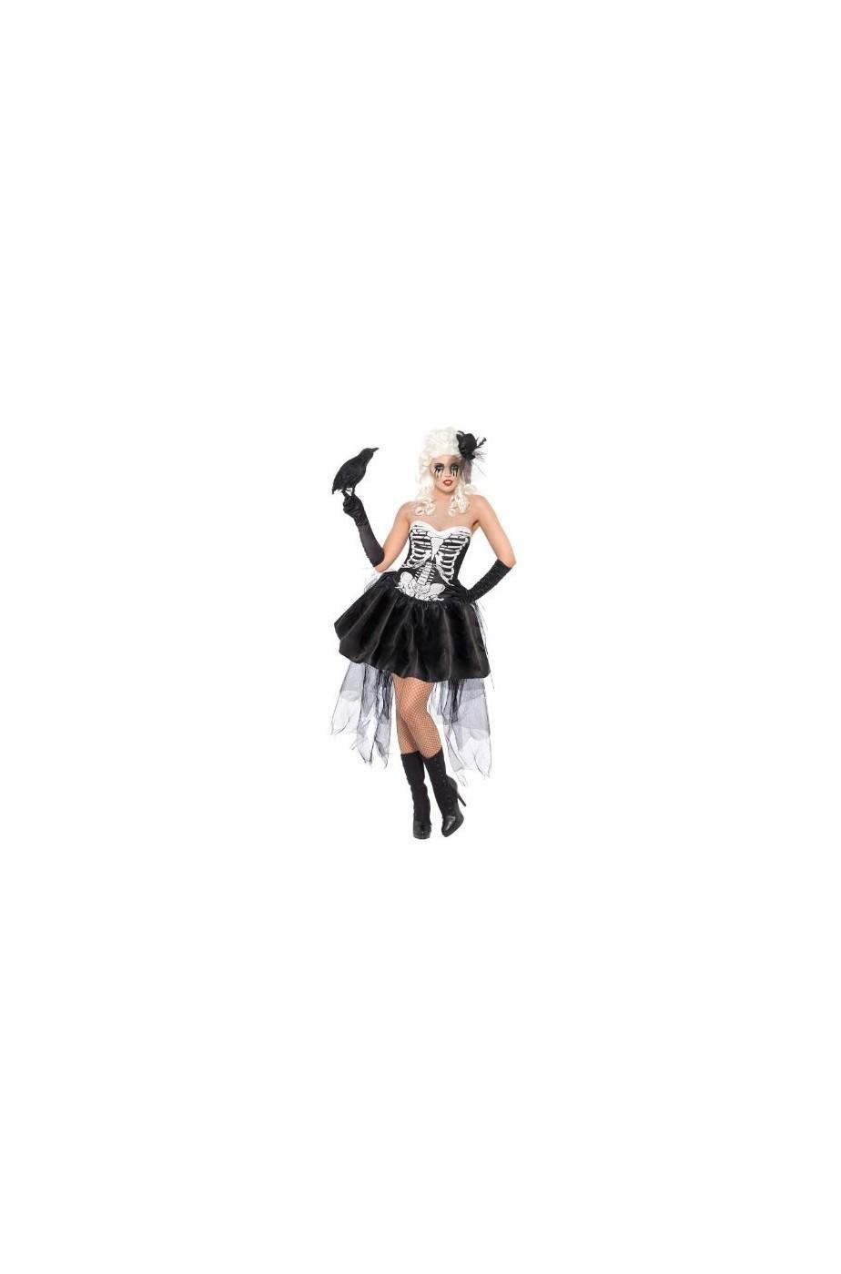 vestito di Halloween donna scheletro abito con sottogonna stracciata e026cb47aff2