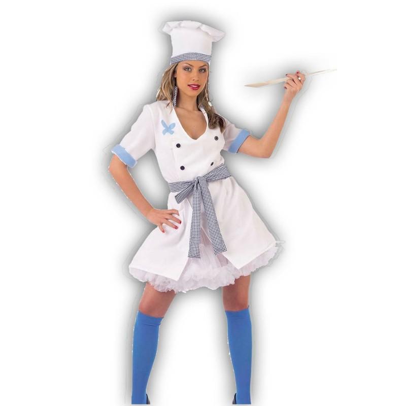 Costume donna cuoca adulta con cappello e cucchiaio in legno c3af4362ea7a
