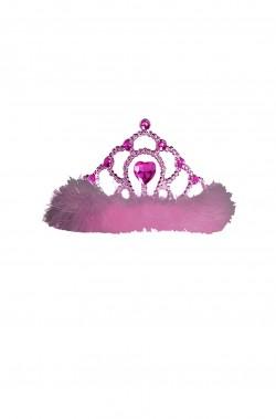 Coroncina principessa a tiara viola con marabou rosa e cuore