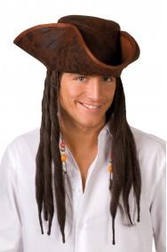 Cappello da pirata marrone a a tricorno Jack Sparrow con dreadlocks