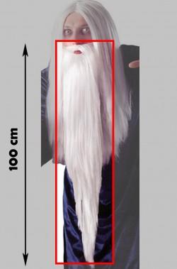 Trucco: Barba Bianca Saruman Mago Gandalf o Merlino o babbo natale 100cm con elastico