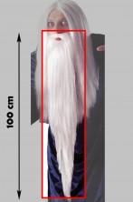 Barba Bianca Saruman Mago Gandalf o Merlino o babbo natale 100cm con elastico
