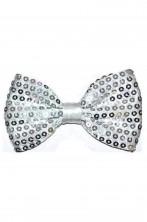 Cravattino Farfallino Papillon in paillette argento con elastico