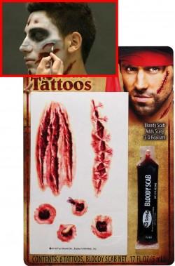 FX tatuaggi con ferite horror sei pezzi con sangue finto