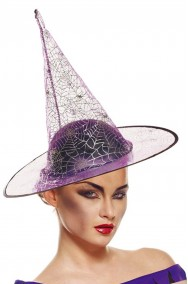 Cappello strega trasparente viola