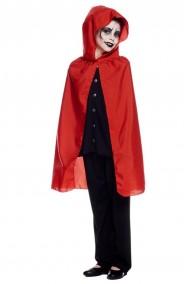 Mantello rosso da bambino 70 cm con cappuccio
