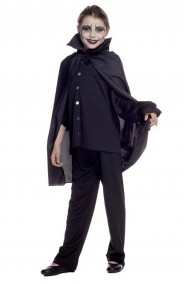 Mantello nero da bambino vampiro solo mantello 70 cm