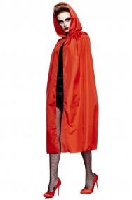 Mantello adulto con cappuccio 120 cm rosso