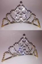 Coroncina principessa a tiara oro con marabou viola e cuore