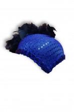 Cappello a calotta anni 20 blu con paillettes