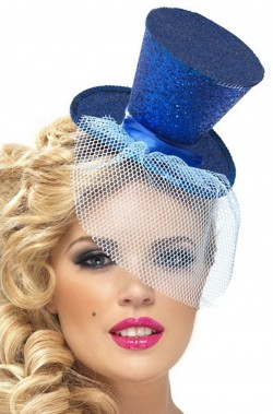 Cappello burlesque in paillette su cerchietto blu