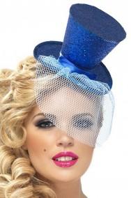 Cappello burlesque in paillette su cerchietto blu