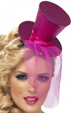 Cappello burlesque in paillette su cerchietto rosa