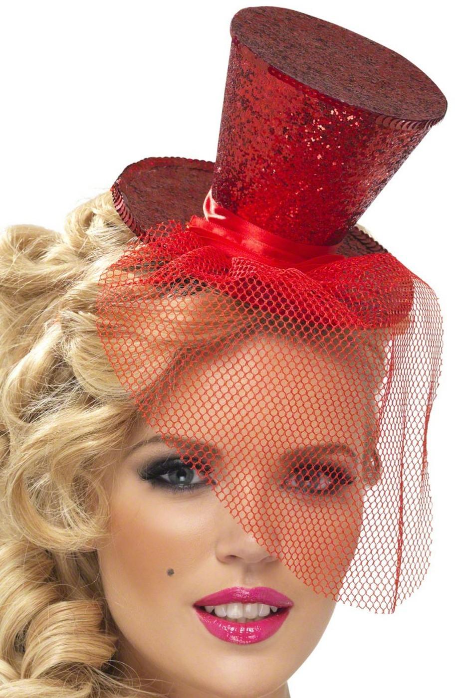 Cappello burlesque in paillette su cerchietto rosso 88bac4c16c16