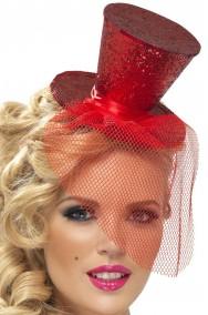 Cappello burlesque in paillette su cerchietto rosso