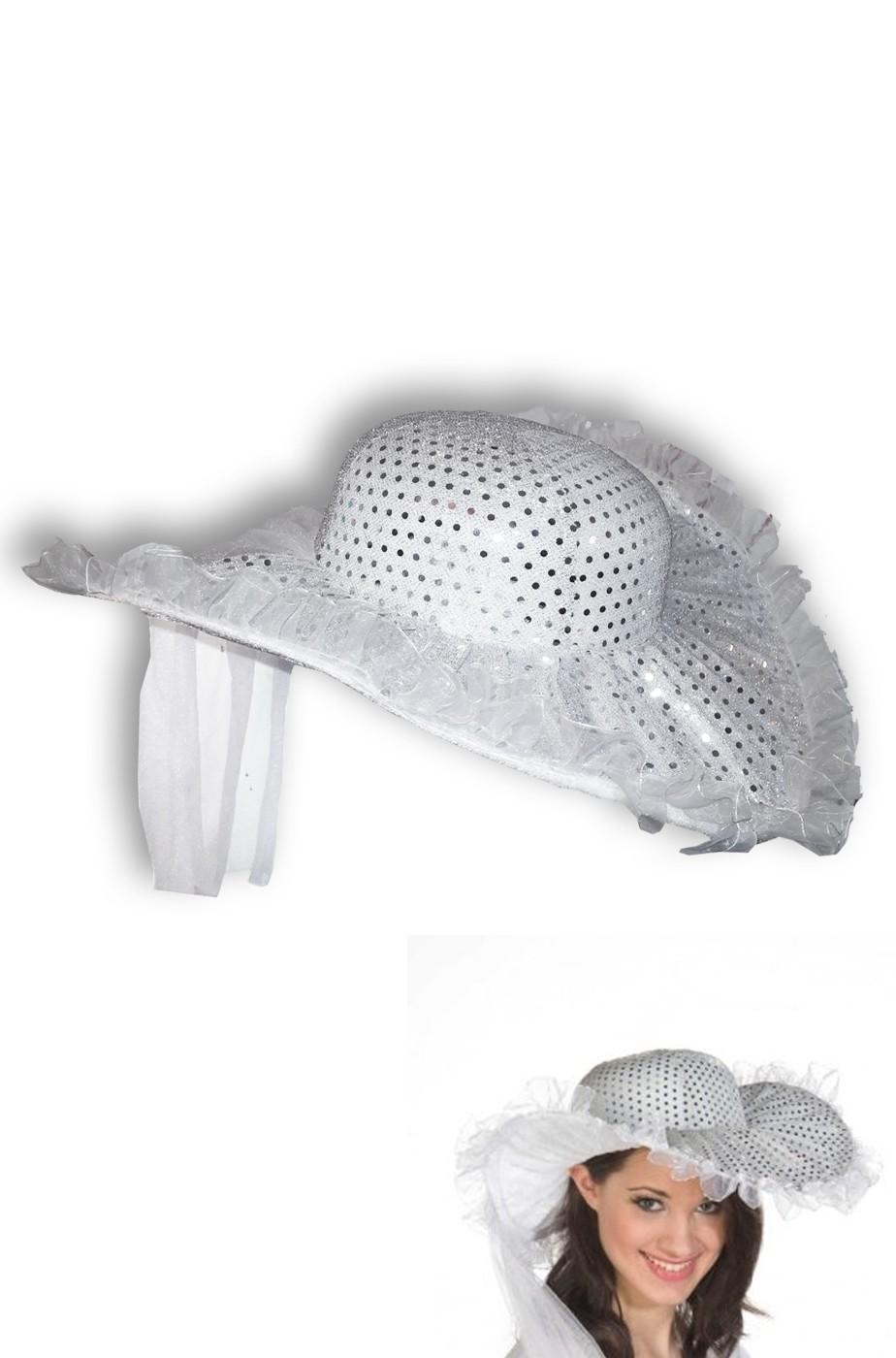 bello economico ultime versioni famoso marchio di stilisti Cappello a falde larghe da sposa con veletta e paillette