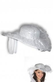 Cappello da sposa dama anni 20 con paillette e velo bianco