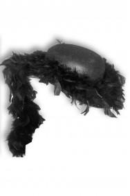 cappello anni 20 charleston nero con marabou