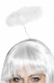 Aureola Bianca da angelo in marabou supporto singolo