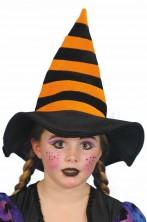 Cappello da Befana o Strega bambinaarancio e nero