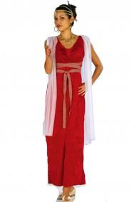 Costume antica romana o dea greca lungo rosso Afrodite