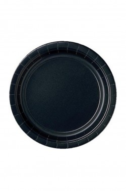 Piatti Party carta neri (8 piatti, 23cm)