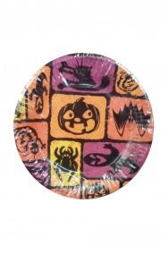 Piatti Party carta halloween zucche pipistrelli ragni 6 piatti, 23cm