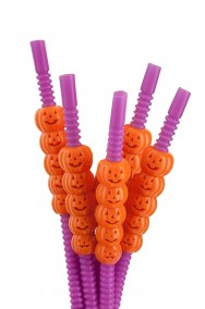 Set 5 cannucce Halloween viola con zucchette arancio